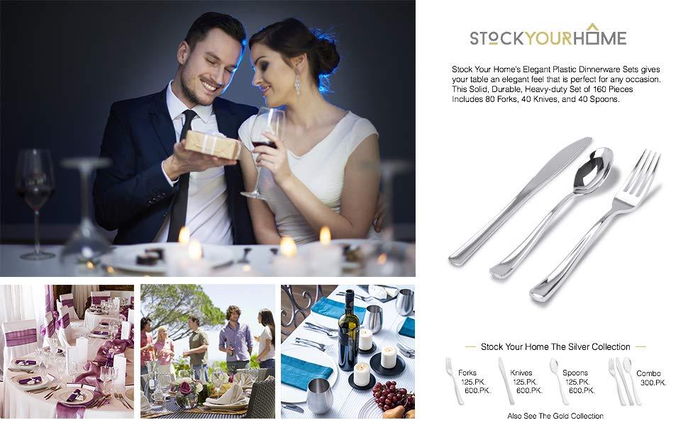 Plastic Cutlery Heavy Duty - 160 Silver Disposable Silverware - Silver Plastic Flatware