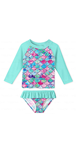 Girls Mermaid Rashguard Swimsuit