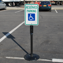 Handicapped and Reserved Parking, Portable Sign Base, Heavy-duty Aluminum, Cast-Iron