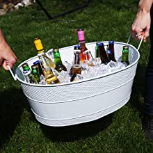 aspen, large, white, beverage, tub, hammered, patio, wine, party, bucket, metal, galvanized
