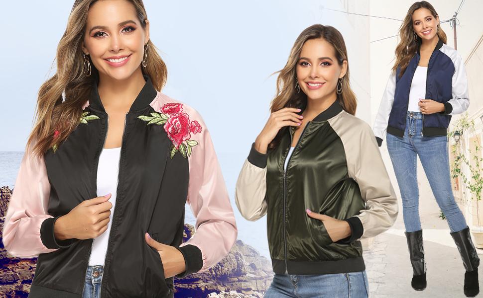 Aibrou Bomber Jacket Giacca Donna con Cerniera Maniche Lunghe Eleganti Outerwear Cappotto Vintage Essential