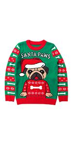dog Santa Paws Pug Ugly Christmas Sweater Boys Girls