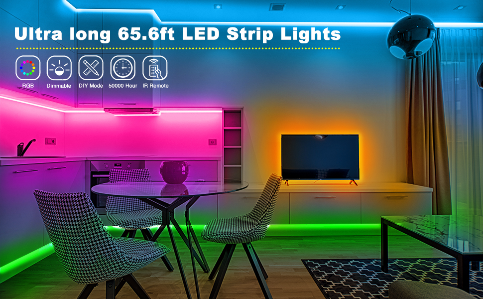 Amazon Com Volivo 65 6ft Led Strip Lights 2 Rolls Of 32 8ft Led Lights For Bedroom 5050 Rgb Color Changing Lights Strip With 44 Keys Remote And 12v Power Supply For Room Party Diy Home