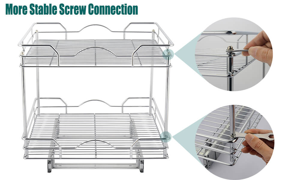 2-Tier Sliding Organizer - Pull Out Cabinet Shelf