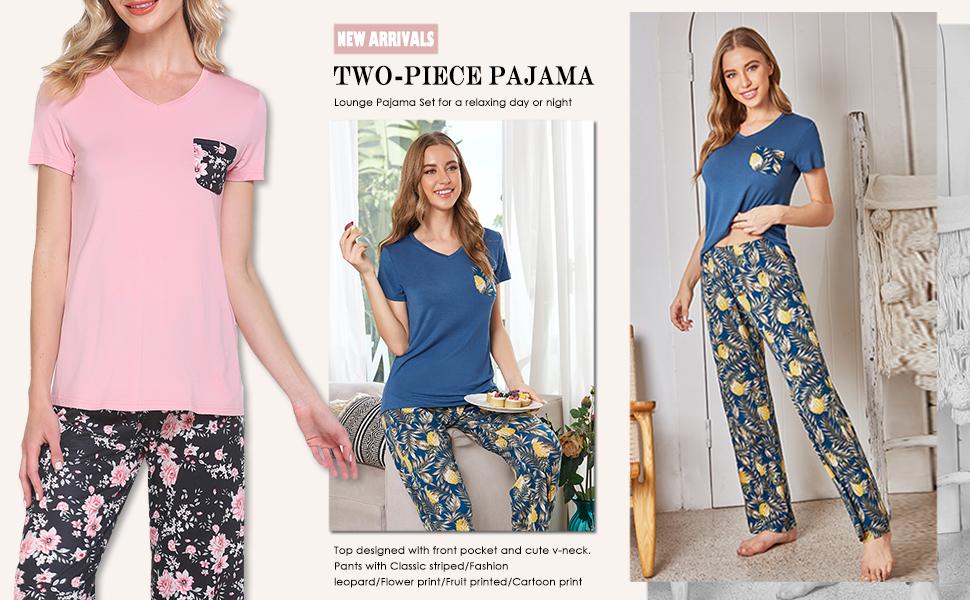 womens Sleepwear Pajama pants Set  Pjs short sleeve v neck soft modal comfy