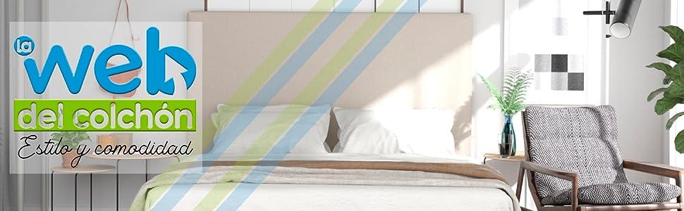 90 x 70 cms Cabezal Cama | Cama Juvenil LA WEB DEL COLCHON Cabecero tapizado Paros para Cama de 80 Cama Matrimonio Negro Polipiel