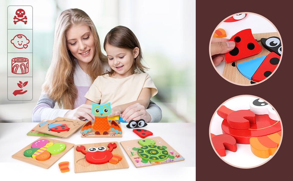 BeebeeRun Kinder Holzpuzzle ab 1 2 3 Jahren,6 Stück