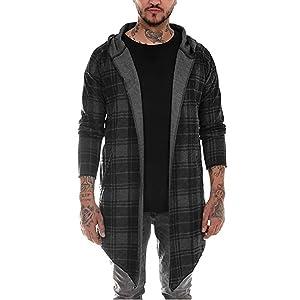 Mens Cardigan Sweatshirt Blouse Plaid Print Hooded Long Sleeve Trench Coat Autumn Cotton Blend Jacket Outerwear