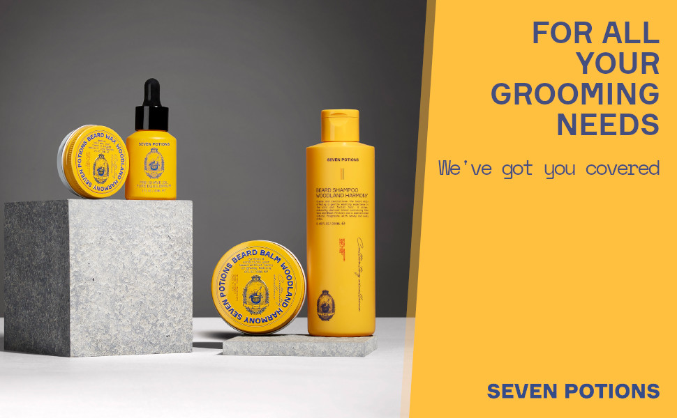 for all your grooming needs we've got you covered seven potions pure all natural ingredients beard