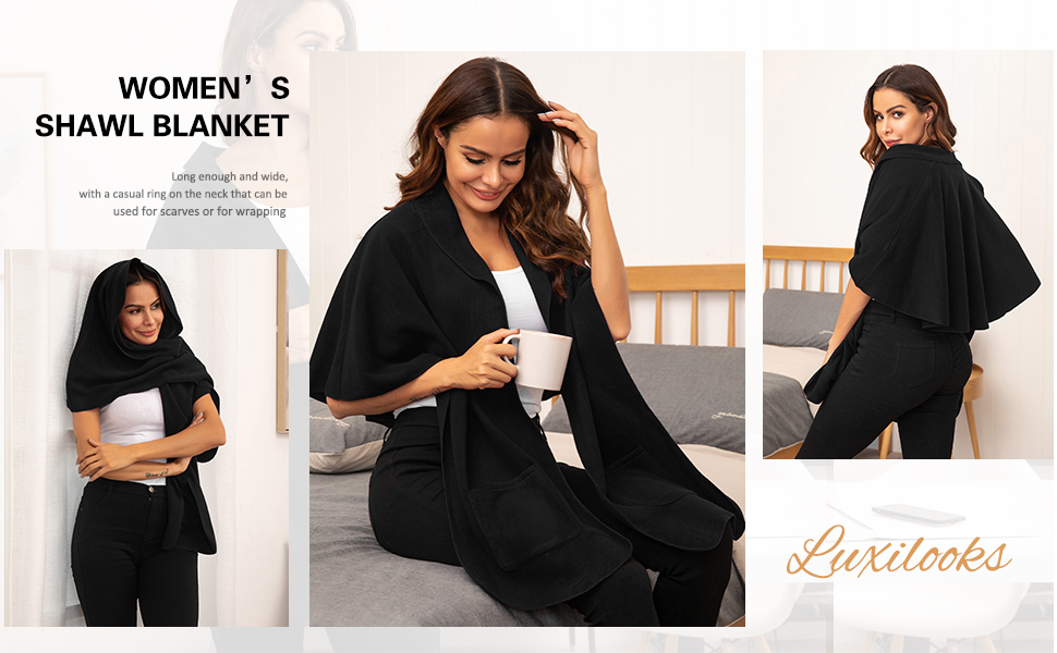 luxilooks Bed Jacket Warm Housecoat Shawl Blanket Cover Nightgown with Pockets for Women