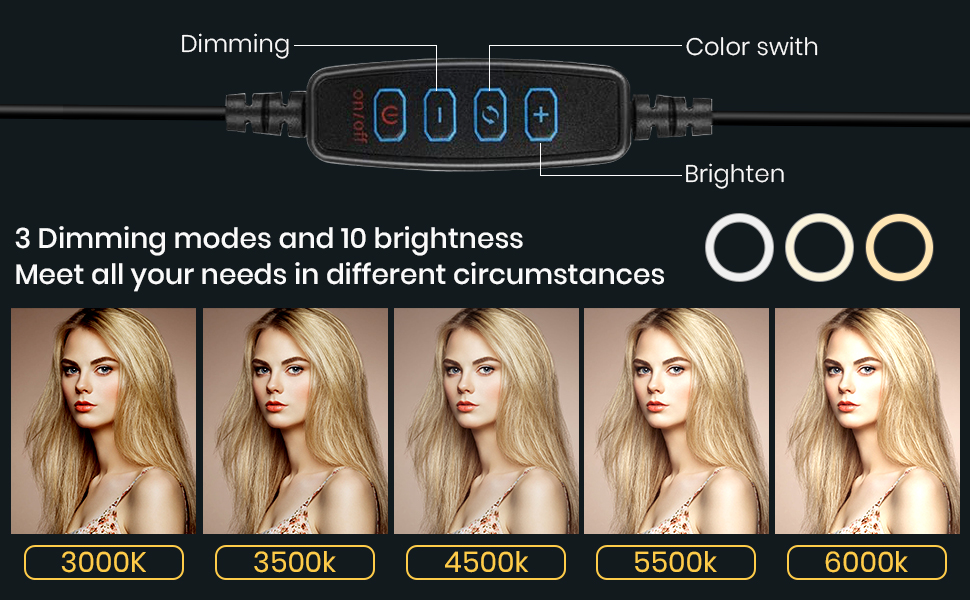 3 Colors Lighting Mode& 10 Levels of Brightness