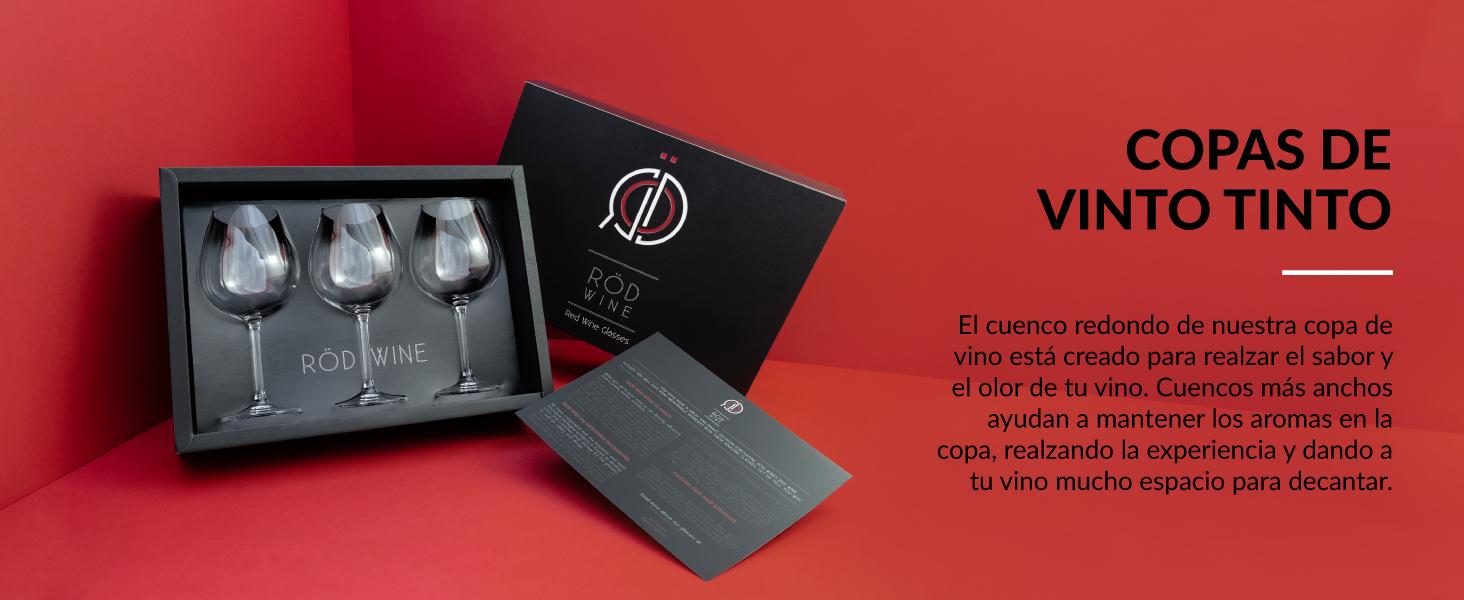 set de copas de vino tinto en cristal con cuenco ancho para disfrutar aroma y degustación