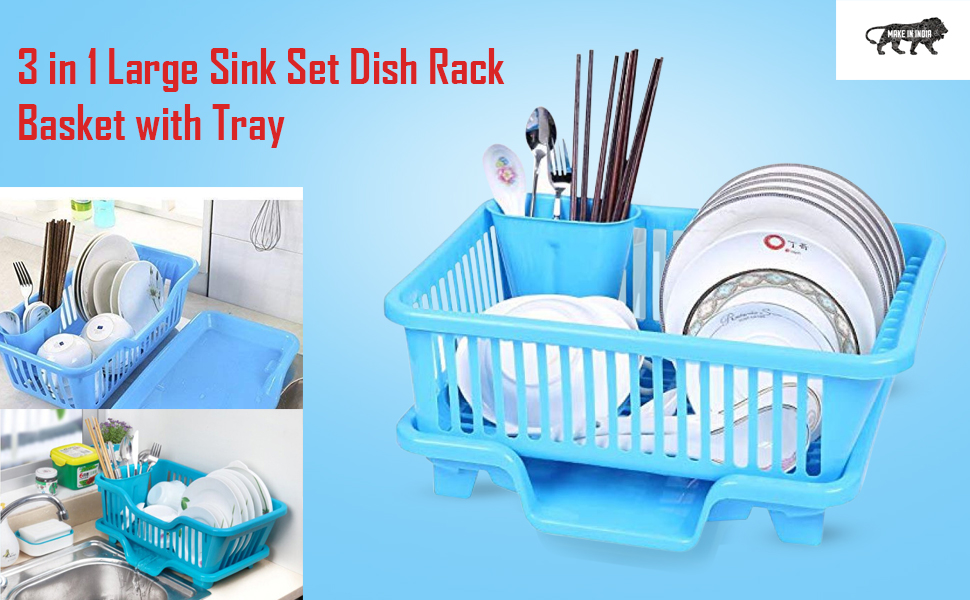 3 in 1 Large Sink Set Dish Rack Drainer