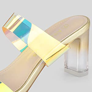 Allegra K Women's Clear Colorful Straps Chunky Heel Slides Sandals