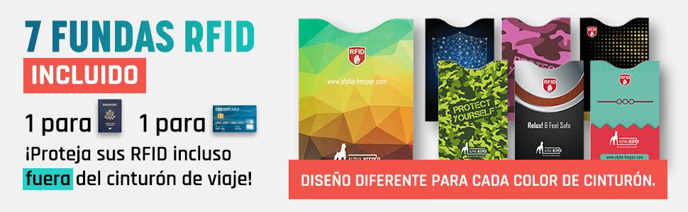 Incluye Set de Funda Pasaporte y Tarjetas con Bloqueador RFID para Uso Diario Portadocumentos Viaje Tipo cintur/ón de Viaje con Bloqueo RFID Nuevo Modelo 2019