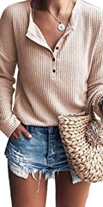 Long Sleeve Button Up V Neck Henley Shirts