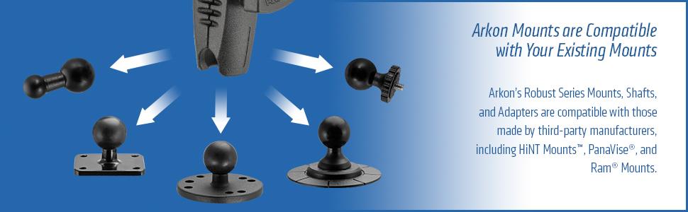 arkon mounts, ram mounts, panavise, 1 inch mount, 25mm, ram size b