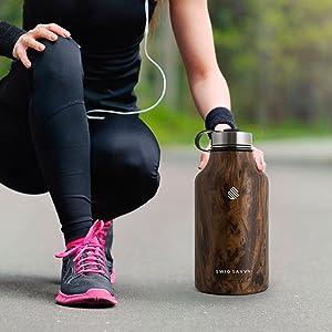 con aislamiento al vac/ío ideal para bebidas fr/ías y calientes Savyy Tech rojo Botella de agua inteligente con pantalla LED sensible al tacto