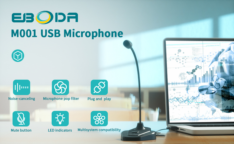 Eboda USB Computer Microphone with Mute Button