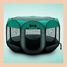Available In 3 Sizes Carrying Case /& Collapsible Travel Bowl Removable shade cover Water resistant Indoor // Outdoor use Dogs // Cats // Rabbit Ruff n Ruffus Portable Foldable Pet Playpen
