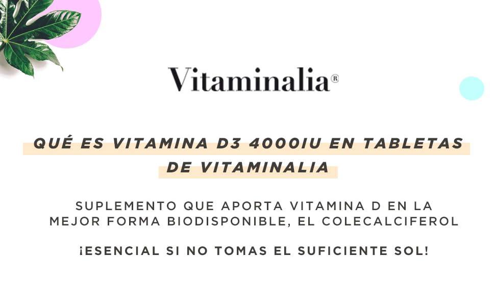 Vitamina D3 4000 IU de Vitaminalia | Vitamina D Colecalciferol de Máxima Absorción + Alta Dosis | Suplemento Vitamina D3 para 1 Año | Apto ...