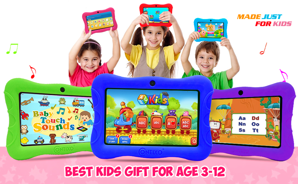 kids tablet learning education - Contixo V9-3-32 7 Inch Kids Tablet, 2GB RAM 32 GB ROM, Android 10 Tablet, Educational Tablets For Kids, Parental Control Pre Installed Learning Game Apps WiFi Bluetooth Tablets For Kids, Dark Blue