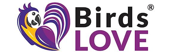 Aves AMOR logotipo de la marca de loros de alimentos juguetes alimentadores de semillas de mijo granos seplebone avian