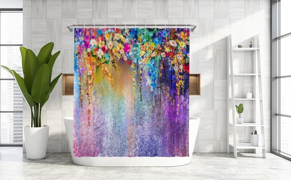 Floral Shower Curtain Spring Garden Landscape Print for Bathroom