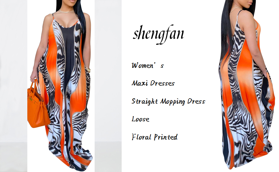 Floral Printed Lanie Multi Wave Maxi Dresses Adjustable Spaghetti Strap Loose Straight Mopping Dress