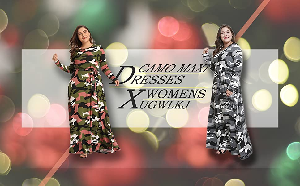 XUGWLKJ camo maxi dresses