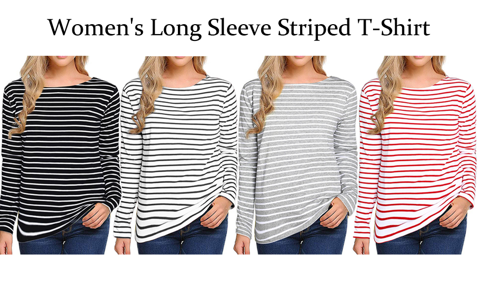 4 colors striped tops