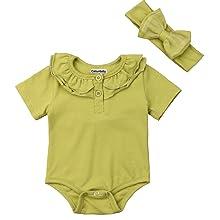 green baby girl romper