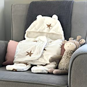 swaddle bear hood fleece winter cold summer adjustable velcro newborn cute snuggle baby present gift