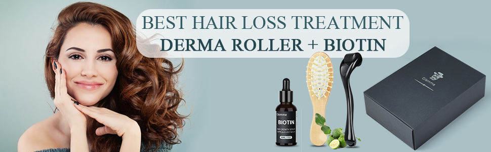 Derma roller kit with hair growth serum
