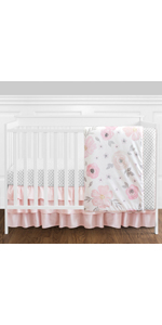 4 pc. Blush Pink, Grey and White Watercolor Floral Baby Girl Crib Bedding Set