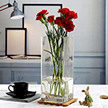 Floral arrangement variety size glass clear vase WGV display centerpiece square cube small