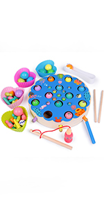 Fishing Toy Wooden Educational Toy Magnet Game Clip Bead Game Motor Skill