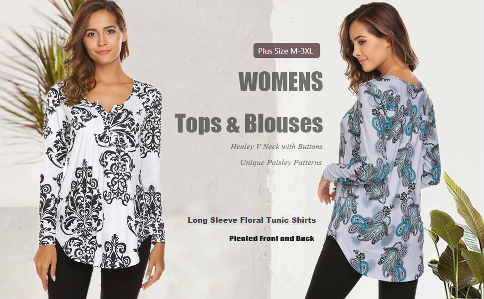 Women's Plus Size Henley Shirt Long Sleeve Buttons Up Pleated Tunic Tops