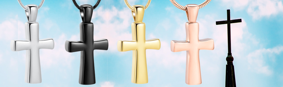 zeqingjw Cremation Jewelry for Ashes Stainless Steel English Lords Prayer Cross Urn Necklace for Men Memorial Ash Jewelry