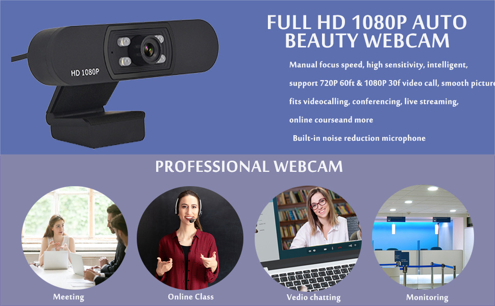 1080P Computer Webcam with microphone