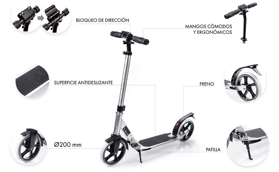 meteor Scooter Ruedas Grandes 200 mm Patinete para Niños y Adultos Muy Duradera hasta 100 kg - Pátinete de Aluminio Kick Scooter Plegable - Varios ...