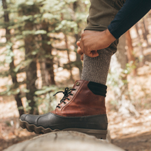 wool-hiking socks are a great choice, with water-resistant properties that help keep your feet dry