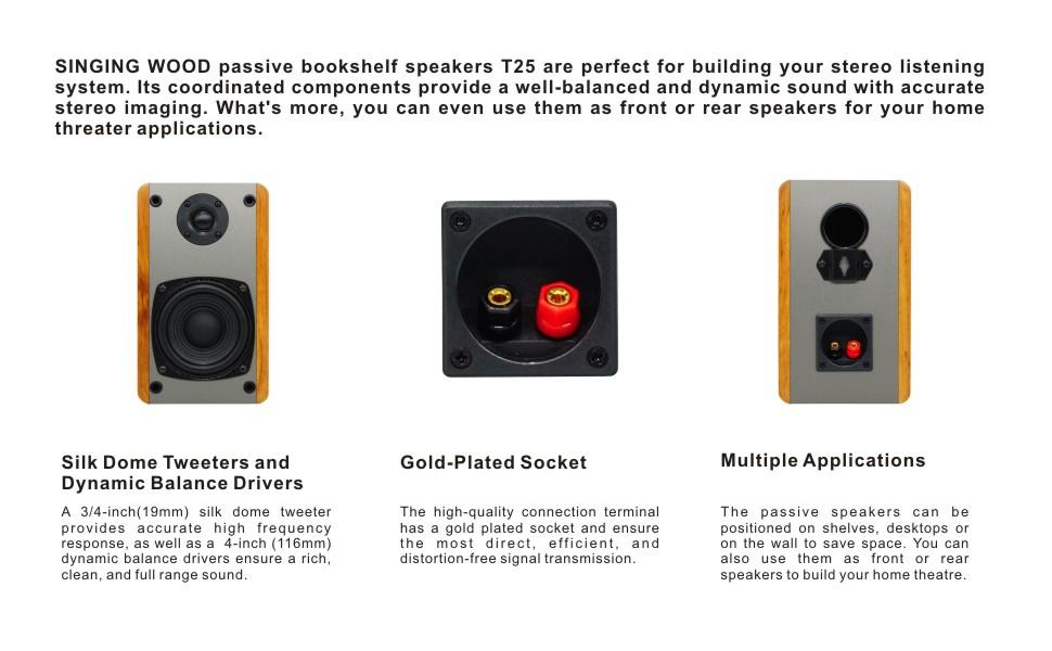 SingingWood Classic Wood design Passive Speaker Set