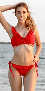 SHEKINI Femme Col en V Maillots de Bain Deux Pi/èces Plage Chic Bikini Rembourr/é Cute Flounce Halter R/églable Fine Bandouli/ère Triangle /à Volants Bikini Femme 2 pi/èces Beachwear