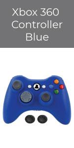 Bek Xbox 360 Wireless Controller Game Pad Microsoft Xbox 360 Slim PC Windows Thumb Grips Blue