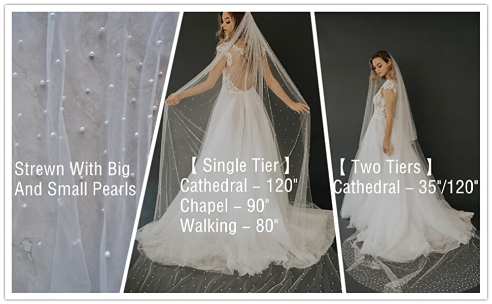 long pearl wedding veil