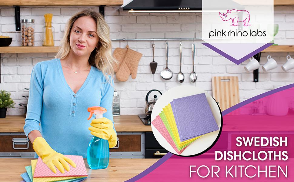 PINK RHINO LABS Swedish Dishcloths for Kitchen