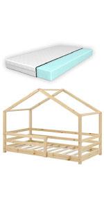 Lit cabane knätten lit d'enfant bois de pin 80x160cm bois naturel matelas mousse à froid