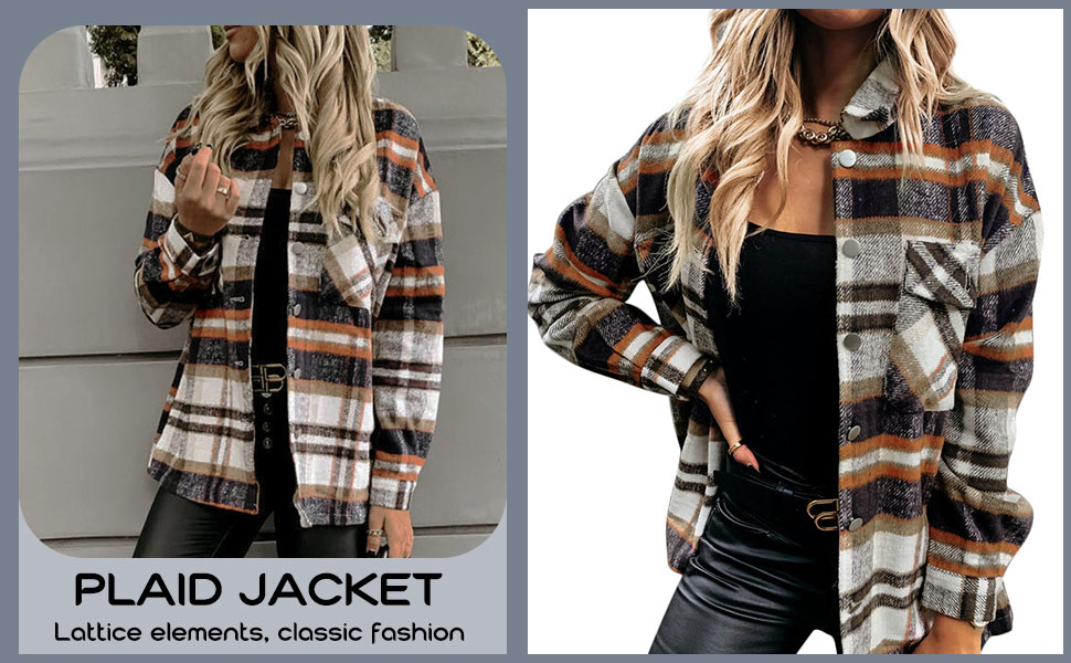 KOOSUFA Chaqueta de mujer a cuadros, chaqueta de fieltro, chaqueta de leñador, blusa de invierno, camisa de manga larga, camisa a cuadros, blusa, ...