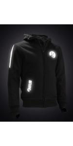 sweatshirt, protection, kevlar, réfléchissant, noir, moto